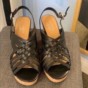 Franco Sarto Nicola leather wedge black